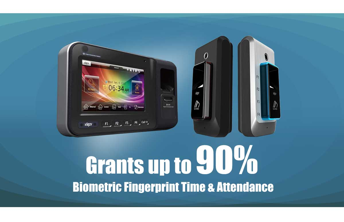 maximum grants funding up to 90% biometric fingerprint time and attendance